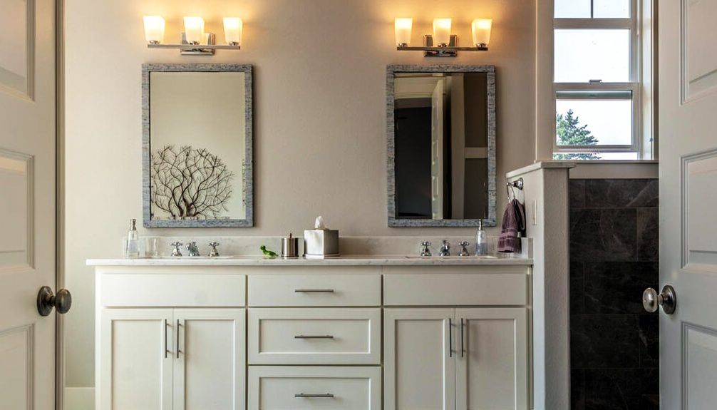 bathrooms with dual mirrors and sinks